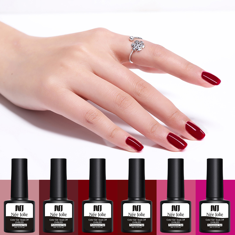 NEE JOLIE 8ml Red Series Color Gel Polish Soak Off UV Gel Polish One-shot Long Lasting Nail Art Beauty Design Gel Varnish