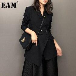Женский Асимметричный Длинный блейзер EAM, черный свободный блейзер с отложным воротником и длинным рукавом, весна-осень 2020, 1W521