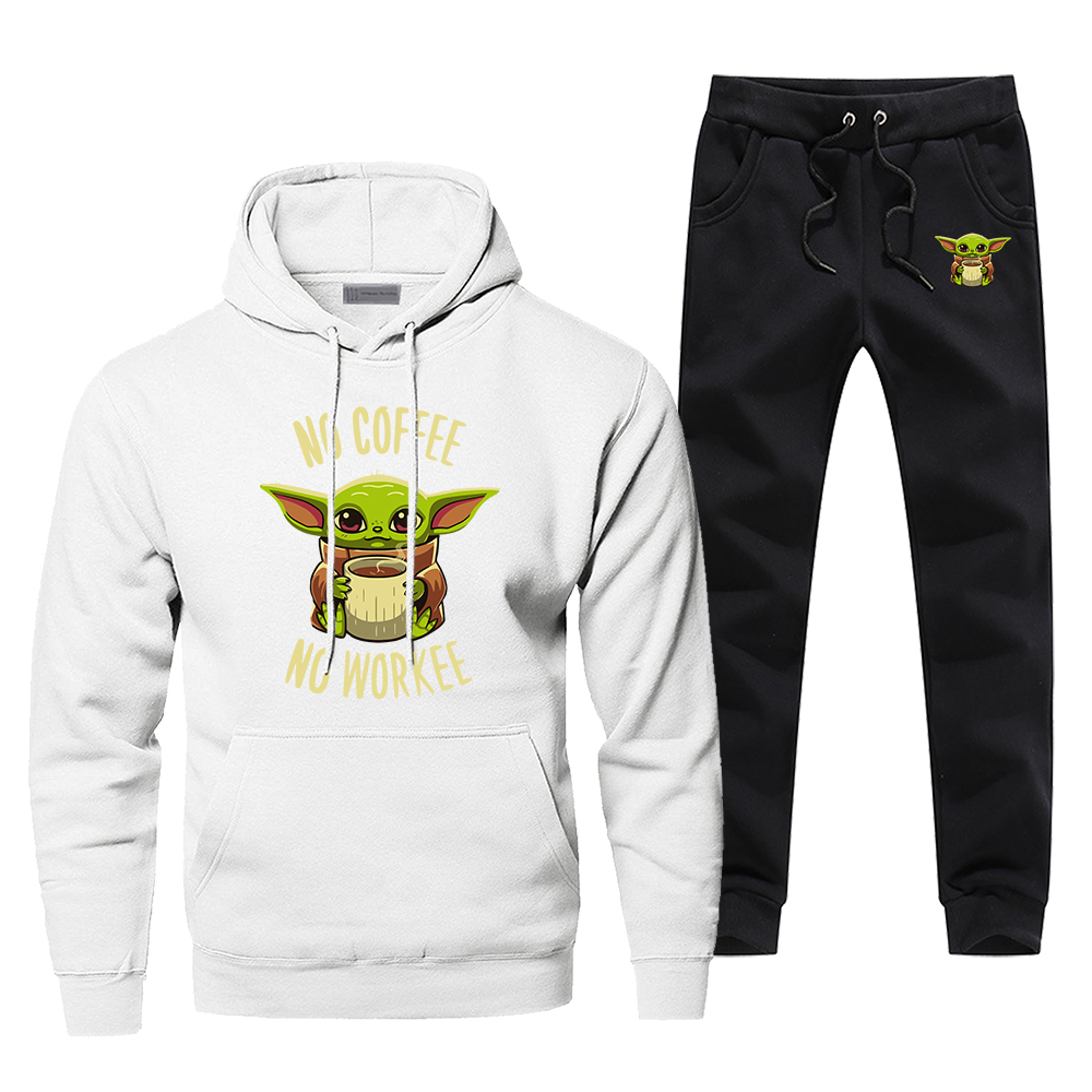 The Mandalorian Tracksuit Men's Sportswear Baby Yoda No Coffee No Workee Sets 2 Piece Sweatshirt + Sweatpants 2020 Spring Set