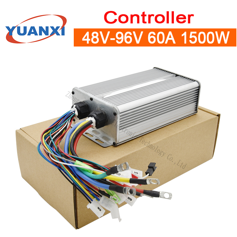 Electric Car Brushless Controller No Hall Controller 48V/60V/72V/84V/96V 60A 1500W Controller