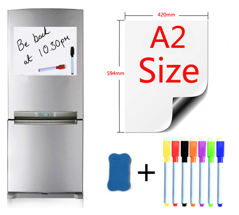 A2 Size 420x594mm Magnetic Whiteboard Fridge Magnets Presentation Boards Home Kitchen Message Boards Writing Sticker 7pen1Eraser