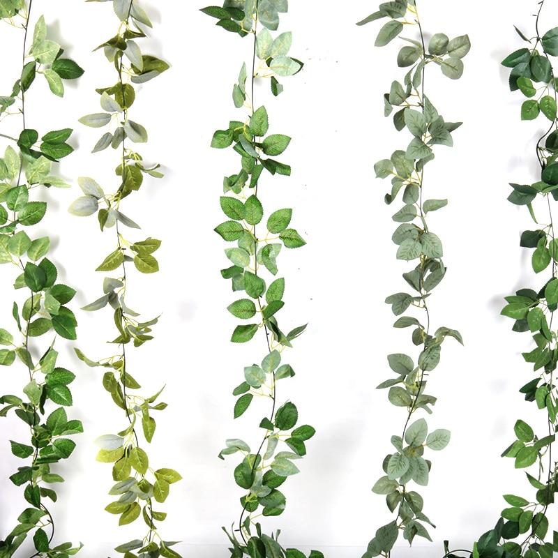 155 см искусственные растения лист Сделай Сам свадебный потолочный цветок искусственная Виноградная лоза ивовые ротанга домашний сад Рожде...
