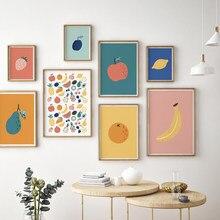 Póster de cocina de manzana, pera, limón, fruta, plátano, fresa, lienzo impreso, imagen de pintura de arte, decoración para comedor y restaurante