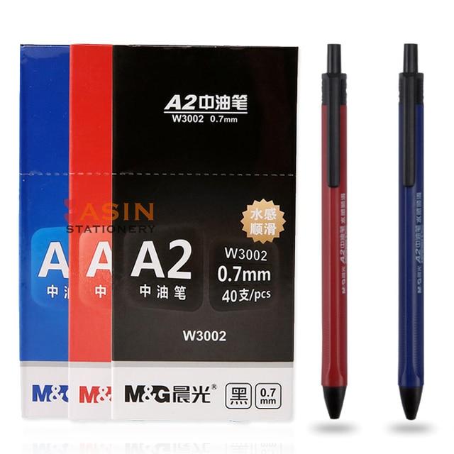M&G 40pcs Semi Gel Writing Ball Point Pen 0.7mm Black/Blue/Red Economic Ball Pen for School and Office Gift Supply  Ballpoint 1