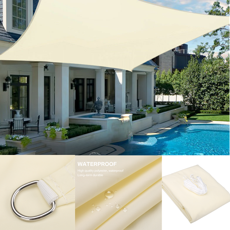 Sun-Shade Canopy Beige Swimming-Terrace Garden 280GSM Awning Square Yard Camping
