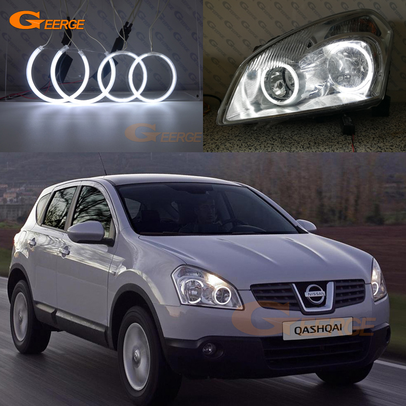 Excellent CCFL Angel Eyes Kit Halo Ring Ultra Bright For Nissan Qashqai J10 2007 2008 2009 2010 Pre Facelift Headlight