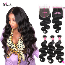 Meetu Brazilian 5x5 Lace Closure Body wave Non Remy Human Hair Bundles with Closure Baby Hair 3 Bundles with Closure