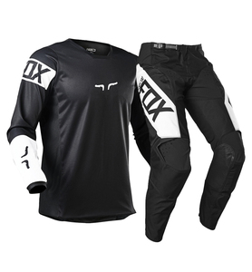 2021 NAUGHTY FOX Black/White Motocross Racing 180 Revn Adult Men's Race Jersey Pant Mx Dirt Bike Off Road Atv Gear Combo