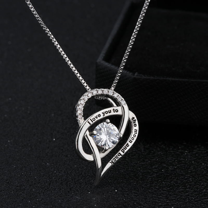 Cubic Zirconia Heart Pendant Necklace Gift To Daughter In Law I Love You to The Moon