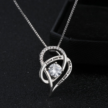 Cubic Zirconia Heart Pendant Necklace Gift To Daughter In Law I Love You to The