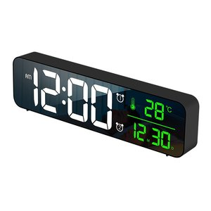 Multifunction LED Digital Alarm Clocks With Snooze Temp Time Music Dual Clock USB Charger Brightness Dimmer