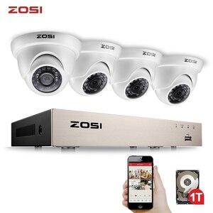 Image 1 - ZOSI 4CH מלא 1080P וידאו אבטחת מצלמה מערכת, 4 עמיד 1920TVL 2.0MP מצלמות, 4 ערוץ 1080P HD TVI H.265 DVR עם 1TB
