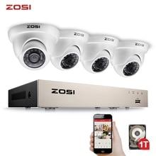 ZOSI 4CH VOLLE 1080P Video Sicherheit Kamera System, 4 Wetterfeste 1920TVL 2,0 MP Kameras, 4 kanal 1080P HD TVI H.265 DVR mit 1TB