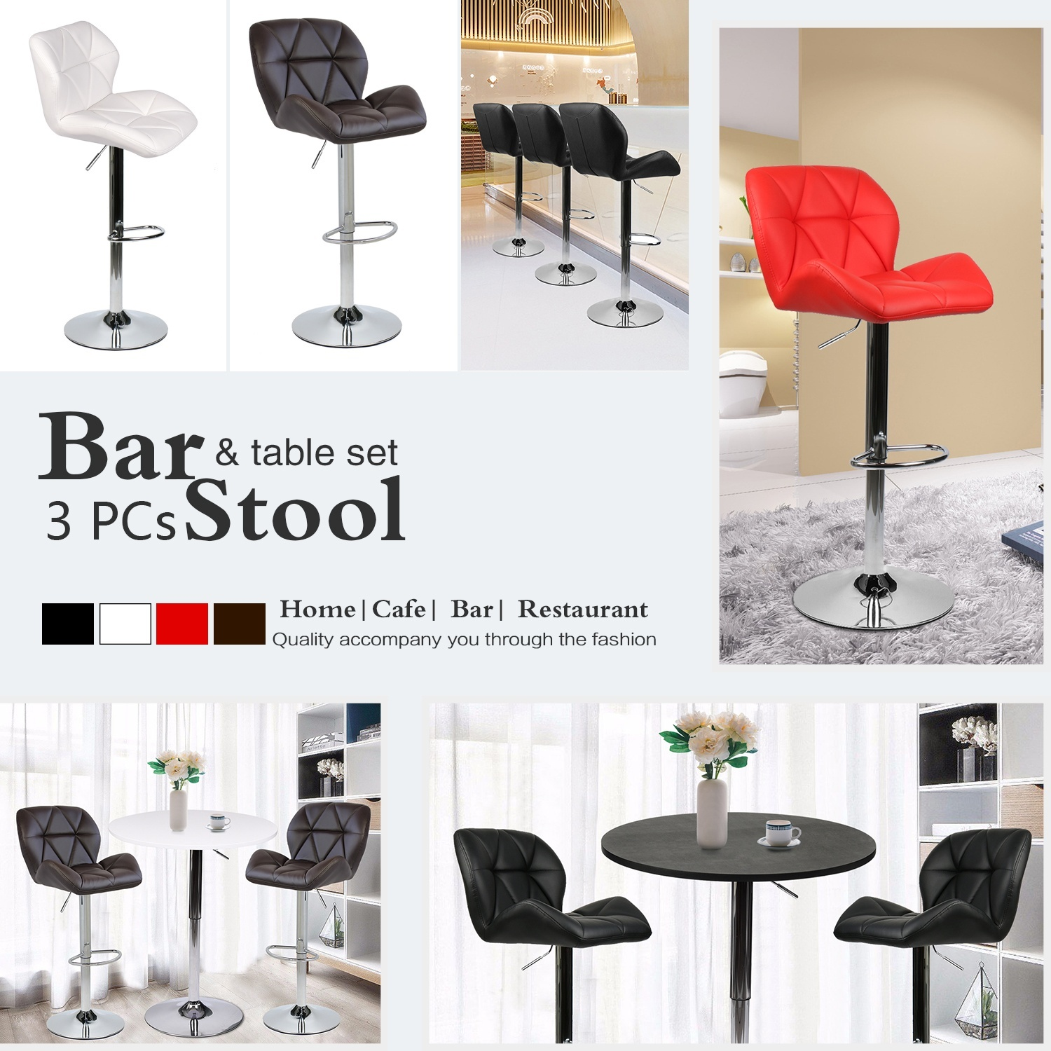New 3 Piece Bar Table Set Counter Bar Stools Dining Chairs Bistro Pub Kitchen Combo
