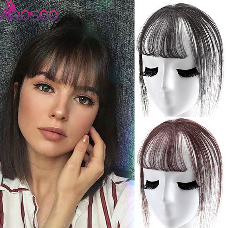 Fashion3D Bangs 6 Inch Female Short Fake Hair Bangs Girls Women Hair Pieces Invisible Seamless Sea Head Replacement Hair Wig