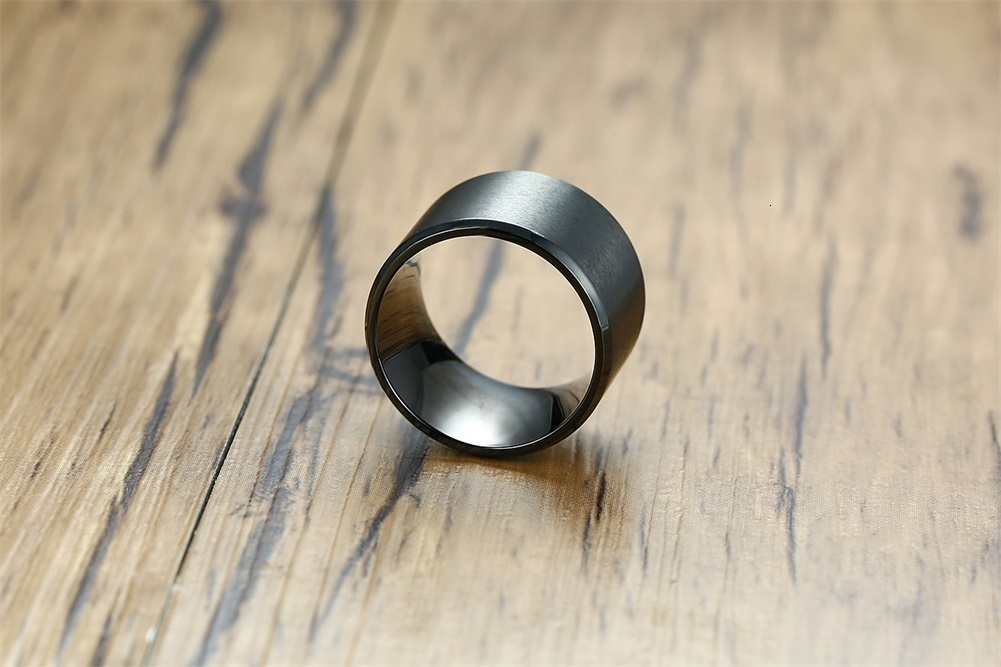 Men 15mm Extra Wide Tube Ring in Black Stainless Steel