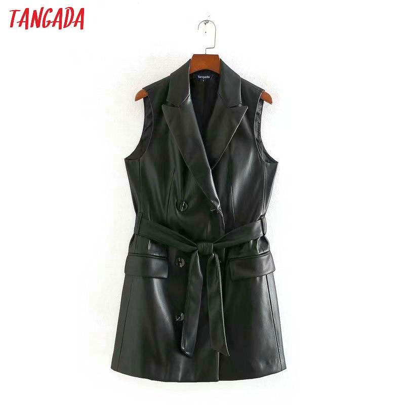 Tangada Women Elegant Black Faux Leather Long Waistcoat Vest Coat Office Lady Work Wear Sleeveless Jacket Female Top CE125