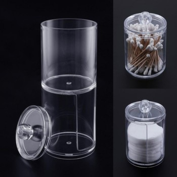 1 Bag Desktop Cotton Swab Pad Storage Box Transparent Acrylic Cosmetics Plastic Storage Box(No Cotton Swabs)