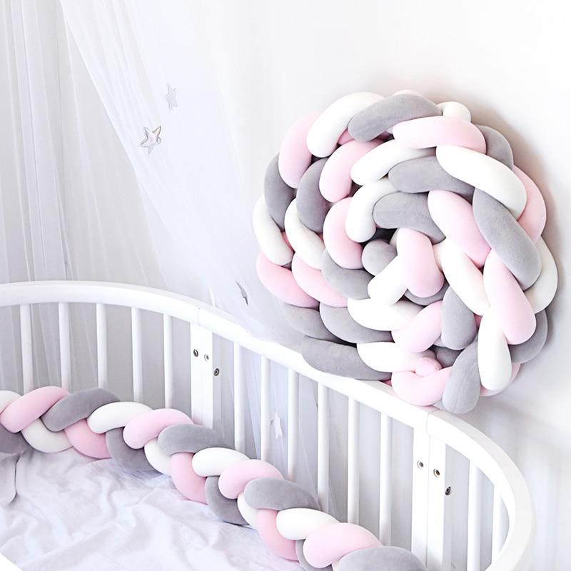 1Pcs 2M/3M Newborn Baby Crib Bumper Bed Bumper Knot Infant Room Decor Newborn Bed Bumper Long Knotted Braid Pillow Knot Crib