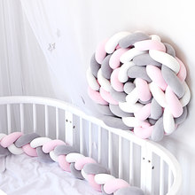 1Pcs 2M/3M Newborn Baby Crib Bumper Bed Bumper Knot Infant Room Decor Newborn Bed Bumper Long Knotted Braid Pillow Knot Crib(China)