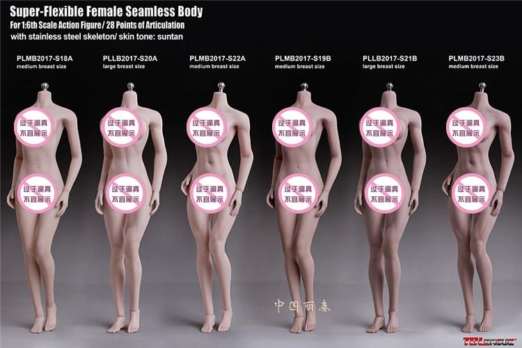 TBLEAGUE Female Super Flexible Seamless Medium Breast Pale PLMB2017-S18A 1//6