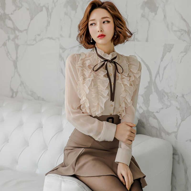 H Han Queen nowa wiosna kobiety Sexy odzież robocza ol 2 sztuk zestaw Ruffles Lace-up bluzki krótki top i spódnica z falbanami koreańskie casual zestawy