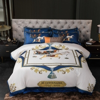 European High End Cotton Bedding Set Quality Home Textile Printed Pillowcase Sheets Duvet Cover Set 4pcs Queen King Size #sw