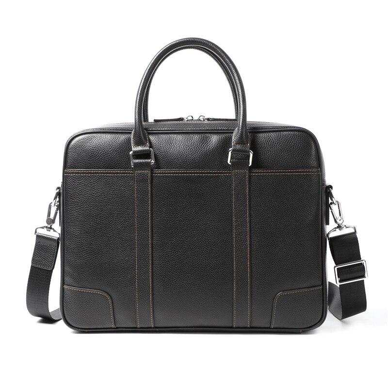 Nesitu High Quality New A4 Black Genuine Leather Office Men Briefcase Portfolio Handbag Business Shoulder Messenger Bags M200605