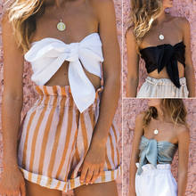 Sexy Women Black Blue White Tops Sexy Strapless Off Shoulder Crop Top Bandage Knot Tank Tops Solid Color Tank Vest 3Colors(China)
