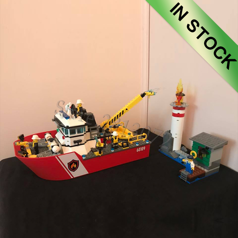 In stock 10830 New City series Fire Boat 412pcs building blocks bricks Toys compatible with 02057 <font><b>60109</b></font> image
