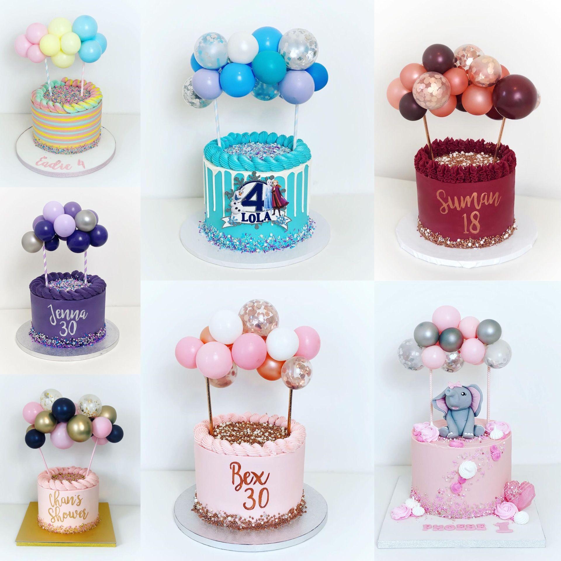 14pcs/set 5inch Latex Balloons Confetti Baloon With Stick Glue Balloon Ribbon Birthday Party Wedding Cake Topper Cake Decoration