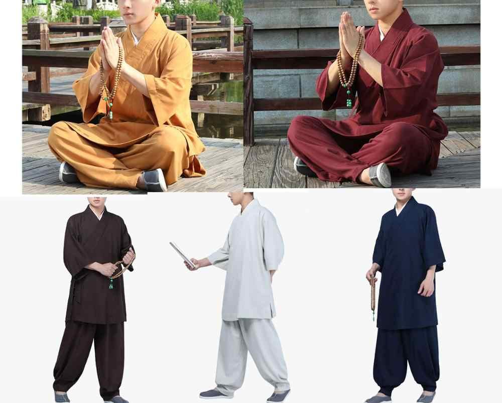 UNISEX lato z krótkim rękawem zen lay arhat opat garnitury buddyjskich mnichów shaolin kung fu mundury sztuki walki odzież żółty/niebieski