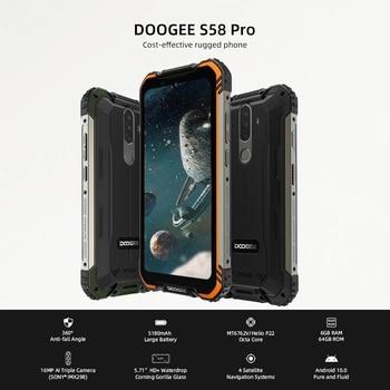 Купить DOOGEE S58 Pro мобильный телефон 5180 мАч 5,71 дюймFHD + дисплей 6 ГБ + 64 ГБ Android 10 NFC Смартфон IP68/IP69K водонепроницаемый мобильный телефон