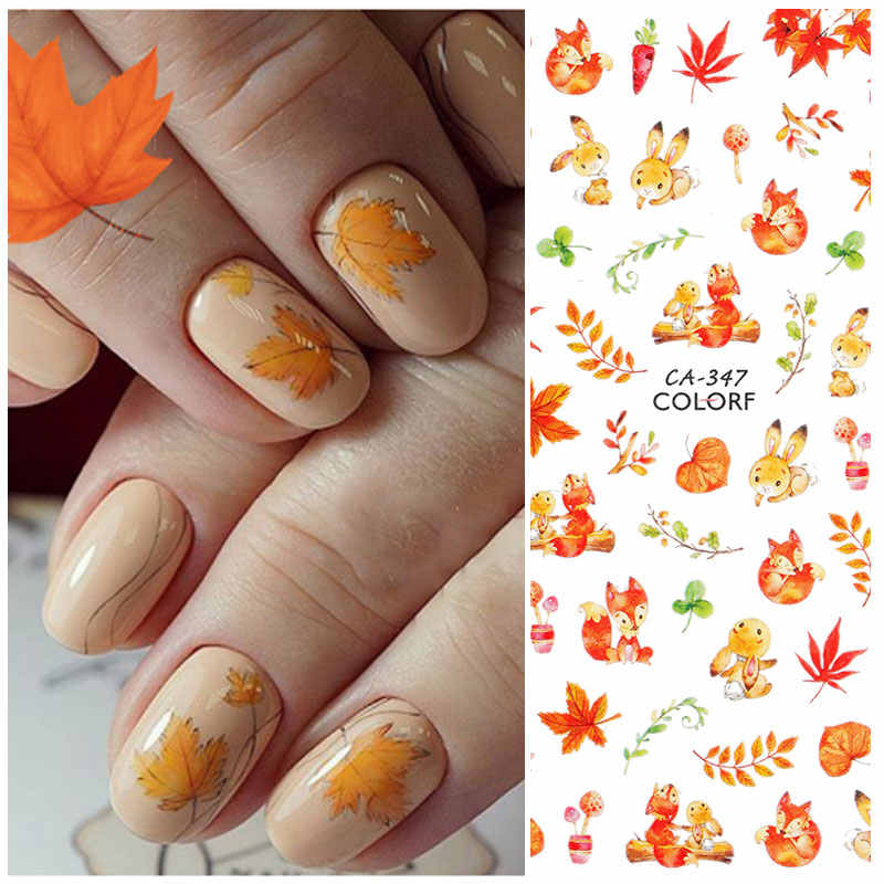 Hnuix 1 Blad Nail Art 3D Decal Fall Thema Nagels Sliders Decor Boards Maple Leaf Patroon Sticker Voor Nail Art filigraan Decals