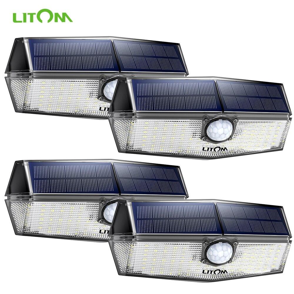 4 Packs LITOM 120 LED Solar Motion Lights With 3 Modes Solar Lights Outdoor Security Lights For Front Door Yard Garage Garden