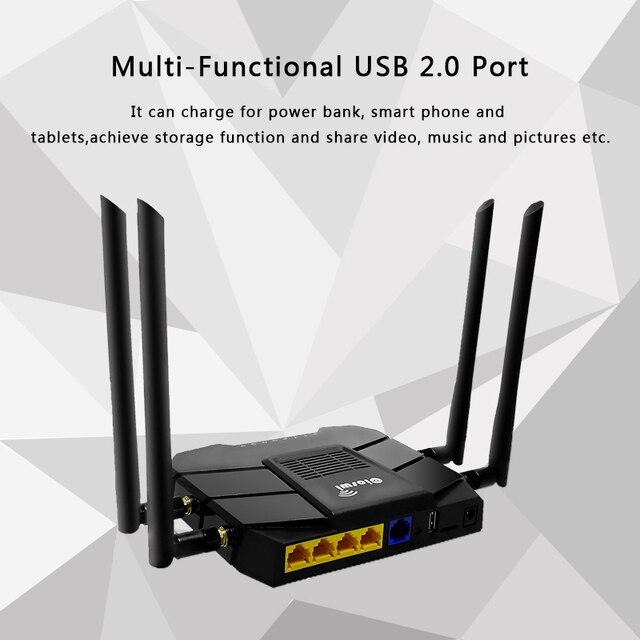 4g sem fio gigabit roteador gigabit dupla faixa ac1200 roteador sem fio wifi repetidor com 4 * 5dbi antena de ganho alto, cobertura mais ampla