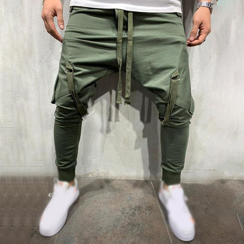 Casual Trousers Harem-Pants Slim-Fit Big-Pockets Hip-Hop-Style Men's Ankle
