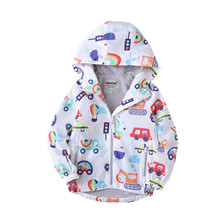 Casual Cartoon Print Fleece Hooded Baby Boys Jackets Waterproof Child Coat Children Outerwear Kids Outfits For Autumn 90-140cm