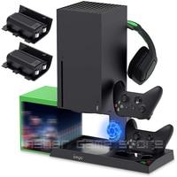 Ventilador de enfriamiento de pie 2 Vertical para Xbox Series X, accesorios de controlador de consola, base de carga, 10 ranuras de juego + 2 uds. Batería de 1400mAh