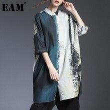 [EAM] Women Pattern Printed Linen Big Size Blouse New Lapel