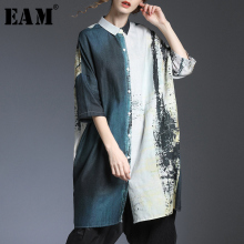 [EAM] Women Pattern Printed Linen Big Size Blouse New Lapel