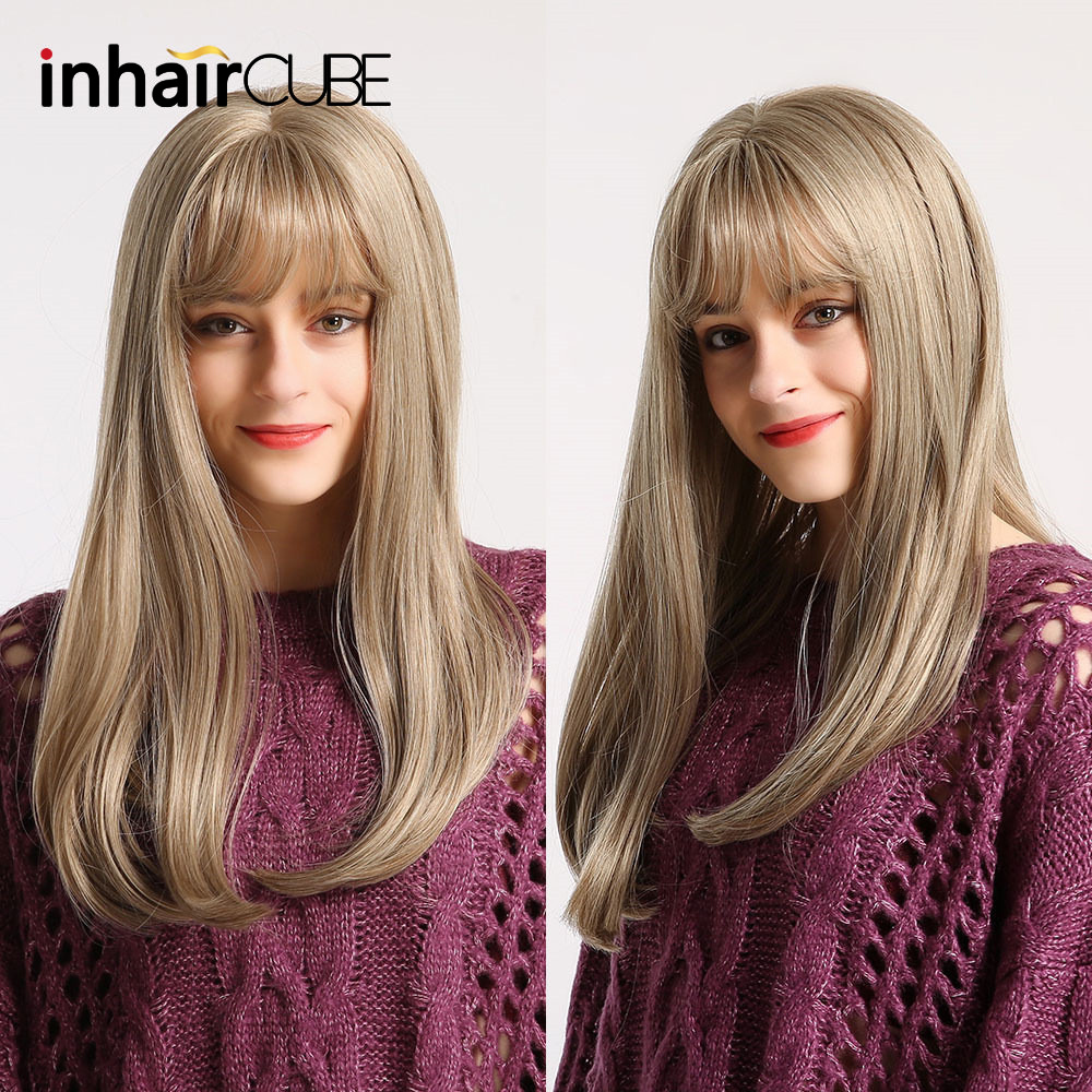 Inhaircube Ombre Long Straight Blond Brown Lolita Wig With Bangs Cosplay Synthetic Wigs Glueless Hair High Temperature Fiber