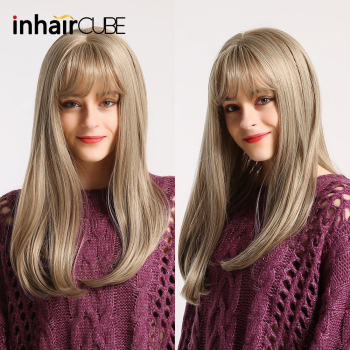 цена на Inhaircube Ombre Long Straight Blond Brown Lolita Wig with Bangs Cosplay Synthetic Wigs Glueless Hair High Temperature Fiber