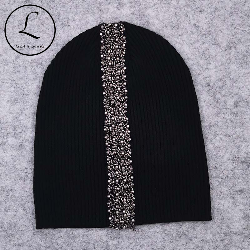 GZHilovingL New Spring Cotton Stretch Stripped Beanies Hats For Women Soft Wool Pearl Beads Strap Knitting Skullies Hat And Caps