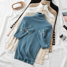 2021 Winter Pullovers Knitted Sweater Women Turtleneck Button Long Sleeve Solid Basic All-match Korean Style Jumper Mujer Tops