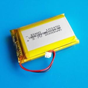Image 4 - 103450 3.7V 2000mAh lipo פולימר ליתיום נטענת סוללה + jst 1.25mm 2pin תקע עבור MP3 GPS navigator DVD