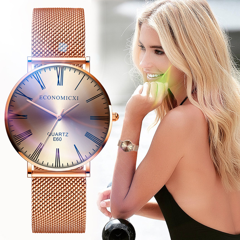 Fashion Casual Ladies Watch Women Classic Quartz Rose Gold Stainless Steel Wrist Watch Gifts часы женские Reloj Mujer Montre /d