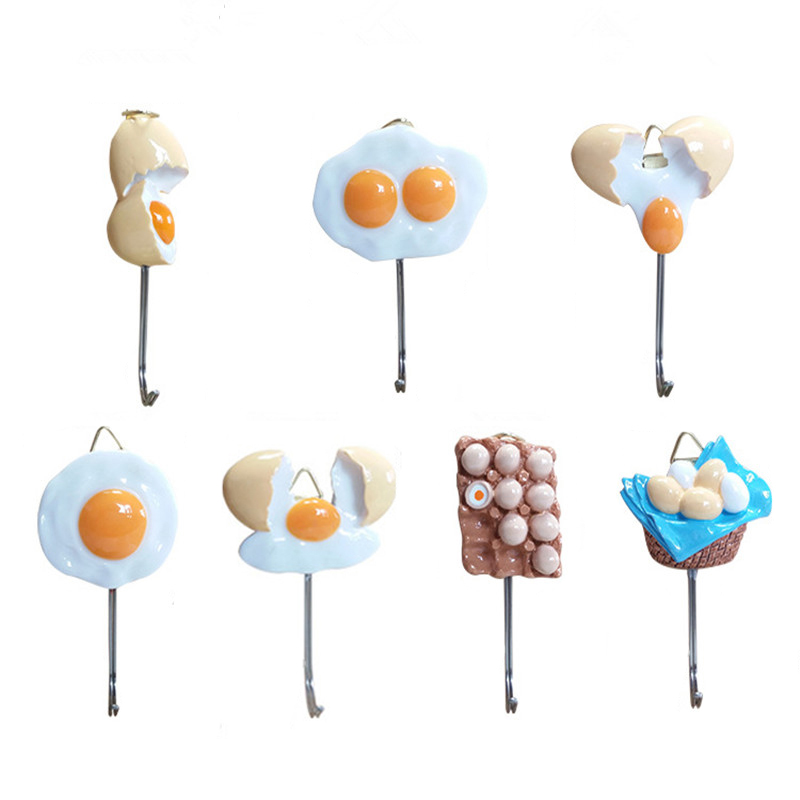 Wall Hook Kitchen Decorative Hook For Bedroom Hanging Key Strong Adhesive Hook Cute Resin Egg Shape Hanger Kitchen Accessories