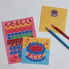 Autocollant de carte décorative pour gâteau d'anniversaire, mignon ours coréen, Double face, Illustration, carte postale, autocollant mural pour salle de bricolage, accessoires Photo