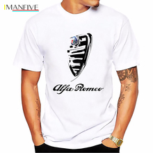 Alfa Romeo Men T Shirt Italy National Treasures T-shirt Homme Italian Style Summer Funny Tshirt Harajuku White Tops